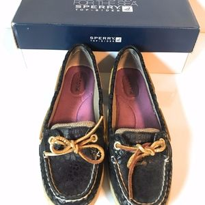 Sperry Top-Sider Angelfish Black Linen Boat Shoes